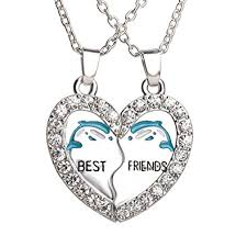 friend heart necklace images Best friend dolphin heart silver tone 2 pendants 2 jpg