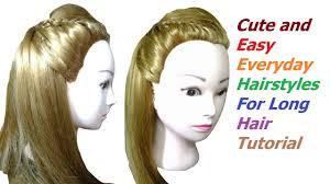cute u0026 easy everyday hairstyles for long hair tutorial easy