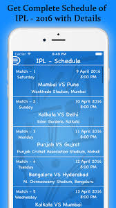 2016 ipl match list ipl 2016 schedule of indian premier league 2016 with point table