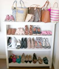 how i organize my shoes with my pottery barn kids bookcase