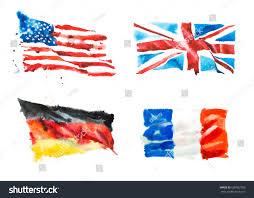 German British Flag Flags America England France Germany Hand Stock Illustration
