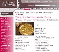 le journal des femmes cuisine raparperitorttu netissä tarte à la rhubarbe dans le journal des