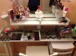 striking resplendent makeup vanity table with white stool as well