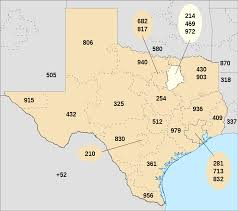 Dallas Fort Worth Area Map by Area Codes 214 469 And 972 Wikipedia