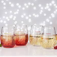 stemless wine glasses christmas quote stemless wine glass set by posh totty designs
