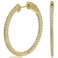 inside out diamond hoop earrings ctw diamond hinged hoop earrings in 14k yellow gold si h i