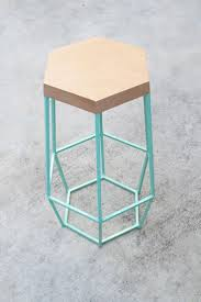 furniture octagon with blue iron barstool for modern bar decor