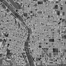 Map Portland Or by Portland Map Black And White Painting By Bekim Art
