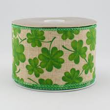 shamrock ribbon 2 5 canvas linen shamrock ribbon 10 yards 251224