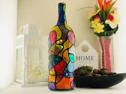Wine Bottles With Lights Stained Glass Light Up Wine Bottles With Lights