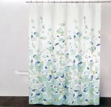 Blue And Green Shower Curtains Dkny Falling Petals Cotton Fabric Shower Curtain Blue