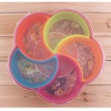Decorative Plastic Plates Candy Fruit Plate Snacks Food Container With Lid Decorative