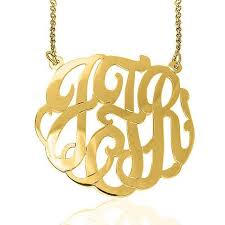gold plated monogram necklace 24k gold plated fancy script monogram necklace split chain be