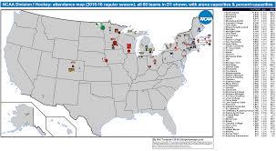 Rpi Map Ncaa Division I Hockey Ecac Hockey Attendance Map 2015 16