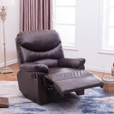 Hg Living by Brown Coffee Leather Upholstered Recliner Chair Home Living Room