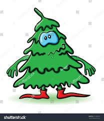 cartoon christmas tree eyes hands feet stock vector 121648591