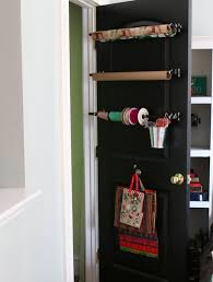 door wrapping paper use ordinary curtain rods to create a the door wrapping
