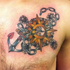 compass tattoo under breast old school anchor compass tattoo by hidden hand tattoo