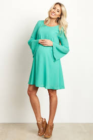 second maternity clothes green chiffon bell sleeve maternity dress