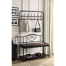 Coat Tree With Bench Amazon Com Black Metal And Bonded Leather Entryway Shoe Bench