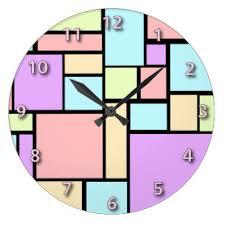 cubism colours pastel colours wall clocks zazzle co uk