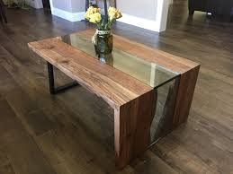 live edge waterfall coffee table solid oak steel and