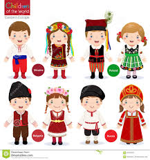 in different traditional costumes stock vector image 67893392