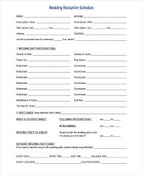 Wedding Reception Program Sample Wedding Agenda Sample Download Template Wedding Day Agenda