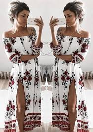 boho fashion white floral side slit shoulder boat neck boho fashion maxi