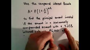 compound interest example find starting principal youtube