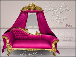 Pink Chaise Lounge Second Life Marketplace Boudoir Canopy Chaise Lounge Gold Pink