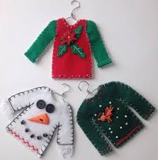 sweater ornaments made from felt sweater