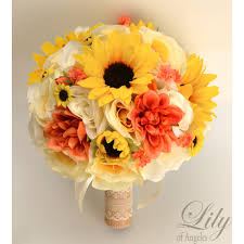 sunflower bouquets coral yellow ivory sunflower rustic burlap lace bouquets