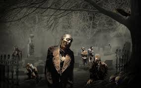spookyt halloween background human skeleton in a graveyard at halloween stock photo picture