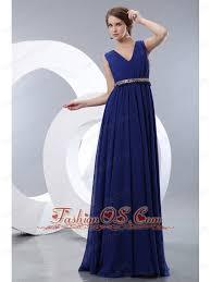 modest royal blue prom evening dress empire v neck brush train