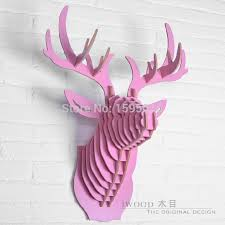 Decorating Living Room Wall Decorate Christmas Decorations Animal Deer Head Of Diy Wooden Crafts For