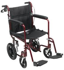 aluminum transport chair with brakes red enable mobility