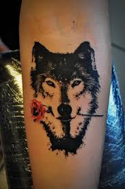 forearm wolf tattoos wolf with rose watercolor tattoo tattoos pinterest