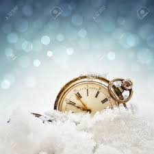 pocket new year new year clock before midnight antique pocket in the snow