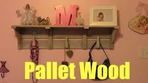 wooden shelf with hooks pallet wood youtube