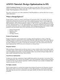 design of experiments ansys tutorial design optimization mathematical optimization