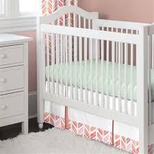 Next Crib Bedding Coral Watercolor Herringbone 2 Crib Bedding Set Carousel