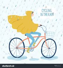 raincoat for bike riders raincoat riding on bicycle under stock vector 430757791