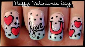 fluffy valentines day nail art youtube