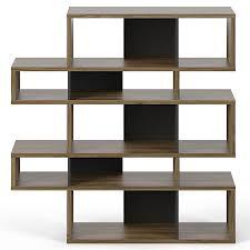 Double Bookcase London Walnut Black Double Modern Bookcase Eurway