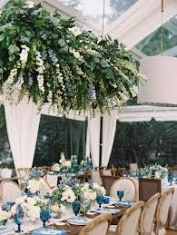 the floral chandeliers at this poolside wedding are beyond