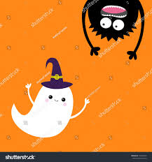happy halloween card flying ghost spirit stock illustration
