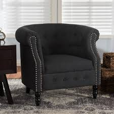 baxton studio chesterfield dark gray fabric upholstered accent