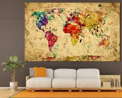 Watercolor Wallpaper For Walls by Large Colorful Vintage Watercolor World Map At Texelprintart Com