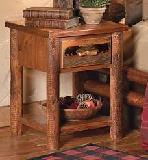 Nightstand With Drawer Rustic Bedroom Furniture Log Beds And Hickory Beds Black Forest